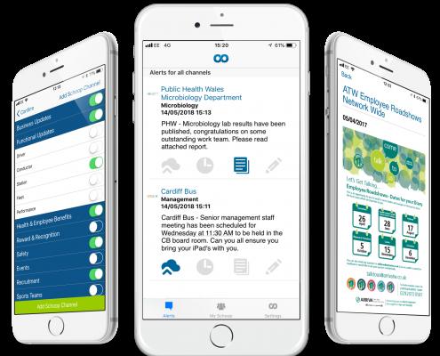 Schoop for business employee engagement smartphone screens